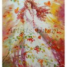 Autumn Angel Original Oil Painting Butterflies Impasto Girl Portrait Woman Portrait Fine Art