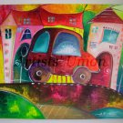 Car Magic City Original Acrylic Painting Cityscape Kids Fairy Tale EU Artist Baby Shower Gift