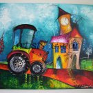 Magic City Original Acrylic Painting Tractor Cityscape Kids Fairy Tale EU Artist Baby Shower Gift