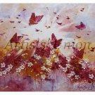 Magical Butterflies Original Oil Painting Impasto Autumn Fantasy Purple White Flowers Meadow EU Art