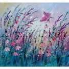 Meadow Original Oil Painting Impasto Pink Wild Flowers Butterfly Lavender Textured EU Artist