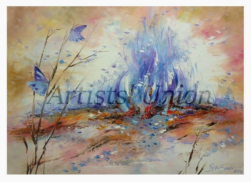 Butterflies Blue Flame Original Oil Painting Impasto Fantasy Abstract Landscape Meadow EU Art