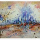 Butterflies Blue Flame Original Oil Painting Impasto Fantasy Abstract Landscape Meadow EU Art