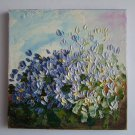 Blue White Flowers Original Oil Painting Impasto Textured Still Life Impression Floral EU Artist