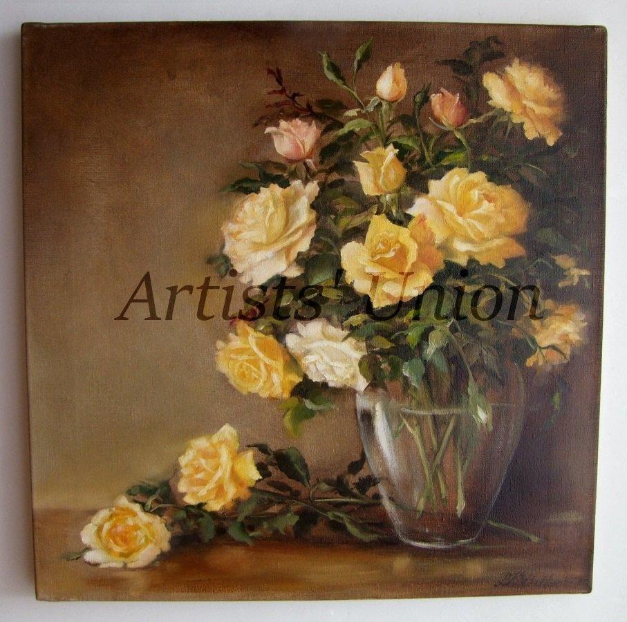 Roses Still Life Original Oil Painting Fine Art Yellow shabby chic Flowers Impression Vase EU Artist