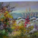 Autumn Meadow Original Oil Painting Impasto Floral Palette Knife Art Purple Wild Flowers Textured