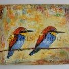 Two Birds Original Oil Painting Fine Bird Art Textured Linen Nursery Duet Impression EU Artist