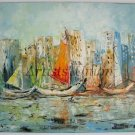 Seascape Original Oil Painting Yachts Harbor Boats Port Ships Harbour Impasto Palette Knife Linen