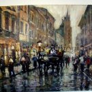 Old Town Original Oil Painting Cityscape Walking People Cab Textured European Artist