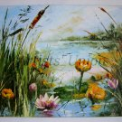Water Lilies Original Oil Painting Pink Yellow Flowers Impasto Palette Knife Lake Textured EU Artist