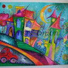 Magic City Original Acrylic Painting Cityscape Moon Kids Fairy Tale Cat EU Artist Baby Shower Gift