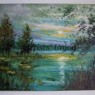 Textured Landscape Original Oil Painting Sunrise Lake Impasto Trees Palette Knife Spring EU Artist
