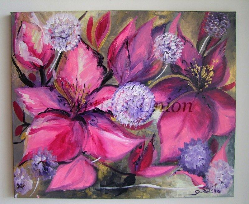 Purple Pink Original Acrylic Painting Hibiscus Dandelion Flower Fine Art Abstract Floral EU Artist