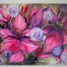 Purple Pink Original Acrylic Painting Hibiscus Dandelion Flower Fine Art Abstract Floral EU Artist