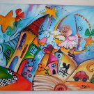 Magic City Angel Original Acrylic Painting Nelly Moon Cat Fine Art for Kids Colorful Nursery EU Art