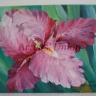 Pink Iris Original Oil Painting Flower Fine Art Garden Impressionistic Still Life Blossoms EU Art