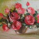 Pink Roses Original Oil Painting Impasto Still Life Palette Knife shabby Bouquet Impressionism