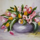 Tulips Bouquet Impasto Original Oil Painting Impressionism shabby chic colors Modern Still Life