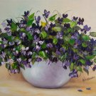 Violets Original Oil Painting Stile Life Purple Wild Flowers Bouquet Palette Knife Impressionism