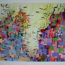 Large Abstract Original Oil Painting, Modern Cityscape Landscape, Purple, Blue Contemporary Fine Art