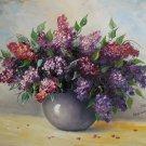Lilacs Original Oil Painting Stile Life Purple Flowers Bouquet Palette Knife Impressionism
