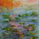 Water Lilies Original Oil Painting Pond Landscape Lake Palette Knife Fine Art Impressionism