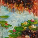 Water Lilies Original Oil Painting Autumn Lake Lily Pad Palette Knife Fine Art Impressionism Pond