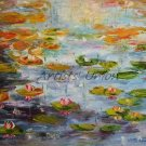 Water Lilies Original Oil Painting Pond Lily Pads Impressionism Palette Knife Fine Art