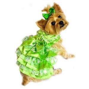 XS DOG DRESS teacup yorkie chihuahua maltese DOG PARTY DRESS W/ LEASH SHIPS USA