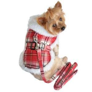 DOG JACKET chihuahua teacup maltese yorkie little DESIGNER DOG COAT & LEASH RED