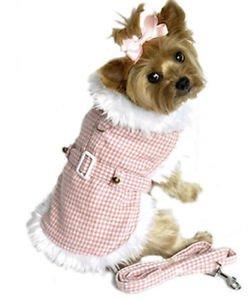 M DOG COAT westie boston terrier bichon HOUNDSTOOTH PINK DOG JACKET & LEASH