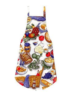 ** NEW DESIGN ** Full Length Adult Apron - PICNIC BASKET GOODIES - All Handmade