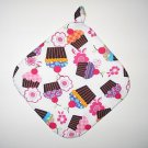 "8"" Hot Pot Pad/Pot Holder with Hanger - CUPCAKES & FLOWERS - All Handmade"