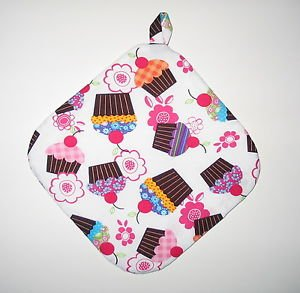 """8"""" Hot Pot Pad/Pot Holder with Hanger - CUPCAKES & FLOWERS - All Handmade"""