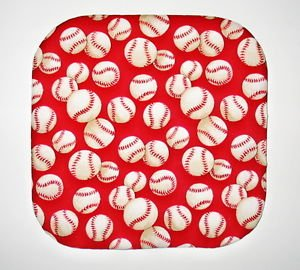 """8"""" Hot Pot Pad/Pot Holder - BASEBALLS ON RED - All Handmade"""