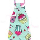 Full Length Adult Apron - CUPCAKES ON GREEN - All Handmade