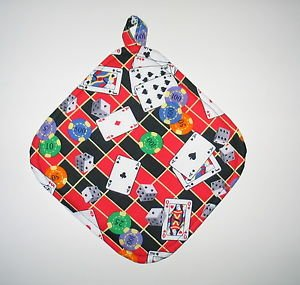"8"" Hot Pot Pad/Pot Holder with Hanger - CASINO GAMES  - All Handmade"