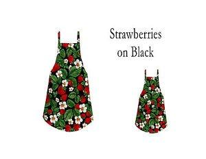 ** NEW ITEM ** Mommy & Me Apron Set - STRAWBERRIES ON BLACK - All Handmade