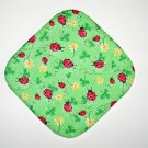 "ST. PATTY'S DAY - 8"" Hot Pot Pad/Pot Holder - LADYBUGS & SHAMROCKS WITH GLITTER"