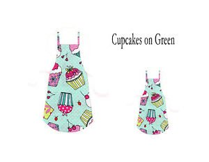 Mommy & Me Apron Set - CUPCAKES ON GREEN - All Handmade