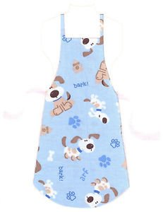 Full Size Adult Apron - DOGS ON BLUE - All Handmade