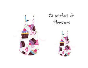 Mommy & Me Apron Set - CUPCAKES & FLOWERS - All Handmade