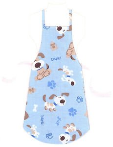 Child Size Apron - All Handmade - DOGS ON BLUE