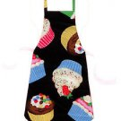 Child Size Apron - All Handmade - CUPCAKES ON BLACK