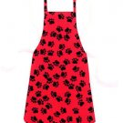 Child Size Apron - All Handmade - BLACK PAW PRINTS ON RED