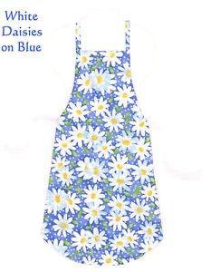 Full Size Adult Apron - WHITE DAISIES ON BLUE - All Handmade