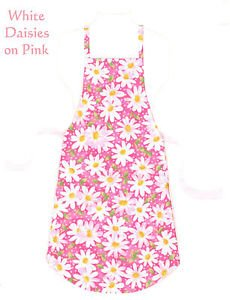 Full Size Adult Apron - WHITE DAISIES ON PINK - All Handmade