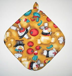 "8"" Hot Pot Pad/Pot Holder with Hanger - THREE CHEFS - All Handmade"