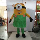 Custom made girl Minion in green dress mascot costume for adult and children