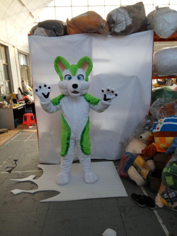 Custom made friendly lovely green husky fursuit mascot costumes Dog mascot Halloween Costumes